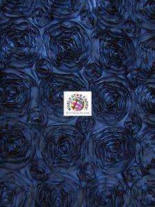 Rosette Style Taffeta Fabric Navy