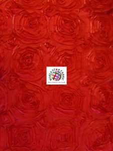 Rosette Style Taffeta Fabric Red