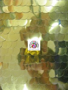 Shiny Gold Big Dot Sequins Mesh Fabric