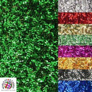 Seaweed Sequins Mesh Fabric