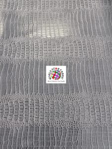 Big Nile Crocodile Vinyl Fabric Silver