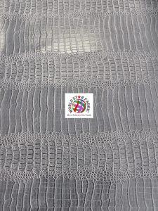 Big Nile Crocodile Vinyl Fabric Silver