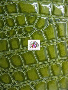 Shiny Alligator Embossed Upholstery Vinyl Fabric Lime
